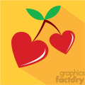 heart shaped cherries for valentines vector art flat design  gif, png, jpg, eps, svg, pdf