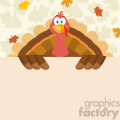 Happy Thanksgiving Turkey Bird Cartoon Mascot Character Holding A Blank Sign Vector Flat Design Over Background With Autumn Leaves