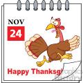Cartoon Calendar Page With Cartoon Turkey Escape Vector vector clip art image