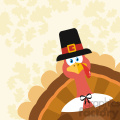 Pilgrim Turkey Bird Cartoon Mascot Character Peeking From A Corner Vector Flat Design Over Background With Autumn Leaves