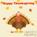 happy thanksgiving text over a turkey bird cartoon mascot character vector flat design with background gif, png, jpg, eps, svg, pdf