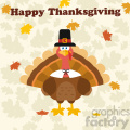Thanksgiving Turkey Bird Wearing A Pilgrim Hat Under Happy Thanksgiving Text Vector Flat Design Over Background With Autumn Leaves