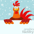 happy red rooster bird cartoon holding a blank sign vector flat design with snow background  gif, png, jpg, eps, svg, pdf