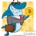 smiling business shark cartoon in suit carrying a briefcase and holding a goden bitcoin vector illustration with yellow background with bitcoin symbols gif, png, jpg, eps, svg, pdf