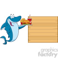 cute blue shark cartoon holding a platter with burger french fries and a soda to wooden blank board vector gif, png, jpg, eps, svg, pdf