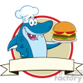 chef blue shark cartoon holding a big burger over a ribbon blank banner vector  gif, png, jpg, eps, svg, pdf