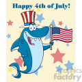 happy blue shark cartoon with patriotic hat holding an american flag vector with background text happy 4th july gif, png, jpg, eps, svg, pdf