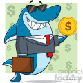 smiling business shark cartoon in suit carrying a briefcase and holding a goden dollar coin vector illustration with green background with dollar symbols gif, png, jpg, eps, svg, pdf