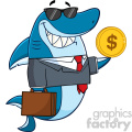 smiling business shark cartoon in suit carrying a briefcase and holding a goden dollar coin vector  gif, png, jpg, eps, svg, pdf