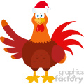 Santa Rooster Bird Cartoon Waving Vector Flat Design