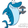 Royalty Free RF Clipart Smiling Blue Shark Cartoon  Training With Dumbbell Vector  Vector