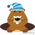Cute Marmot Cartoon Character With Sleeping Hat Emerging From A Hole Vector Flat Design