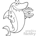 Black And White Smiling Shark Cartoon Training With Dumbbell Vector Vector