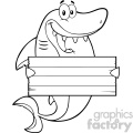 black and white happy shark cartoon holding a wooden blank sign vector  gif, png, jpg, eps, svg, pdf