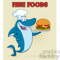 clipart chef blue shark cartoon holding a big burger vector with halftone background and text fish foods gif, png, jpg, eps, svg, pdf