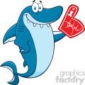 Clipart Cute Blue Shark Cartoon Wearing A Foam Finger Vector