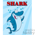 Royalty Free RF Clipart Happy Blue Shark Cartoon  Waving For Greeting Under Water Vector  With Blue Sunburst Background And Text