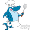 Chef Blue Shark Cartoon Licking His Lips And Holding A Spatula Vector