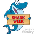 Happy Blue Shark Cartoon Holding A Wooden Sign With Text Shark Week Vector