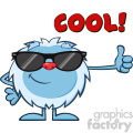 cute little yeti cartoon mascot character with sunglasses holding a thumb up vector with text cool!  gif, png, jpg, eps, svg, pdf