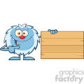 cute little yeti cartoon mascot character pointing to a wooden blank sign vector  gif, png, jpg, eps, svg, pdf