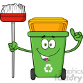 Talking Green Recycle Bin Cartoon Mascot Character Pointing To A Open Lid Vector