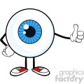 Blue Eyeball Guy Cartoon Mascot Character Giving A Thumb Up Vector