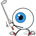 Blue Eyeball Golfer Cartoon Mascot Character Swinging A Club Vector