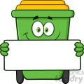 Smiling Green Recycle Bin Cartoon Mascot Character Holding A Blank Sign Vector