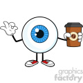 blue eyeball guy cartoon mascot character holding a take out cup and gesturing ok vector  gif, png, jpg, eps, svg, pdf