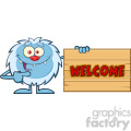 cute little yeti cartoon mascot character pointing to a welcome wooden sign vector  gif, png, jpg, eps, svg, pdf