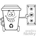 black and white smiling recycle bin cartoon mascot character holding a dollar bill vector  gif, png, jpg, eps, svg, pdf