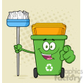 Open Green Recycle Bin Cartoon Mascot Character Holding A Broom And Pointing For Clining Vector With Halftone Background