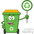 Cute Green Recycle Bin Cartoon Mascot Character Holding A Recycle Sign Vector