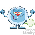 Smiling Little Yeti Cartoon Mascot Character Farting Vector