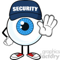 Blue Eyeball Cartoon Mascot Character Security Guard Gesturing A Stop Vector