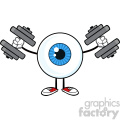 Blue Eyeball Guy Cartoon Mascot Character Working Out With Dumbbells Vector