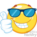 10459 Smiling Yellow Emoticon Cartoon Mascot Character With Sunglasses Giving A Thumb Up Vector