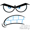 10881 Royalty Free RF Clipart Aggressive Cartoon Funny Face With Angry Expression Vector Illustration