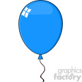10750 Royalty Free RF Clipart Cartoon Blue Balloon Vector Illustration