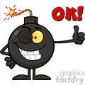 10791 Royalty Free RF Clipart Winking Bomb Cartoon Mascot Character Giving A Thumb Vector With Text OK