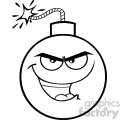 10833 Royalty Free RF Clipart Black And White Evil Bomb Face Cartoon Mascot Character With Smiling Expressions Vector Illustration