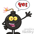 10780 Royalty Free RF Clipart Happy Funny Bomb Cartoon Mascot Character Waving For Greeting With Speech Bubble And Text Yo! Vector Illustration