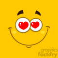 10895 Royalty Free RF Clipart Smiling Love Cartoon Square Emoticons With Hearts Eyes And Expression Vector With Yellow Background