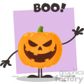 Grinning Evil Halloween Pumpkin Cartoon Emoji Character Waving For Greeting Vector Illustration Flat Design Style Isolated On White Background_1