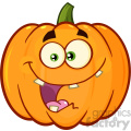 Crazy Orange Pumpkin Vegetables Cartoon Emoji Face Character With Expression Vector Illustration Isolated On White Background