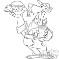 black and white cartoon bear with a fish sandwich