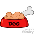 Royalty Free RF Clipart Illustration Red Dog Bowl With Animal Food And Bone Drawing Simple Design Vector Illustration Isolated On White Background
