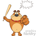 Royalty Free RF Clipart Illustration Angry Brown Bulldog Cartoon Mascot Character Holding A Bat And Pointing Vector Illustration Isolated On White Background With Speech Bubble