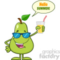 Green Pear Fruit With Sunglasses Cartoon Mascot Character Holding Up A Glass Of Juice With Speech Bubble And Text Hello Summer